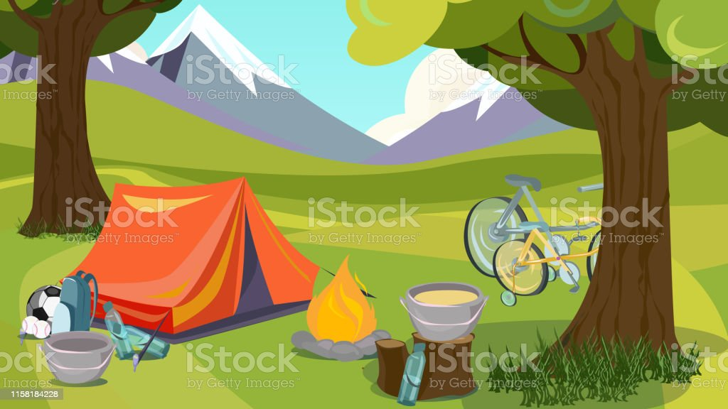 Summer Camp. Tent in Wood Mountain Valley Vector Illustration....