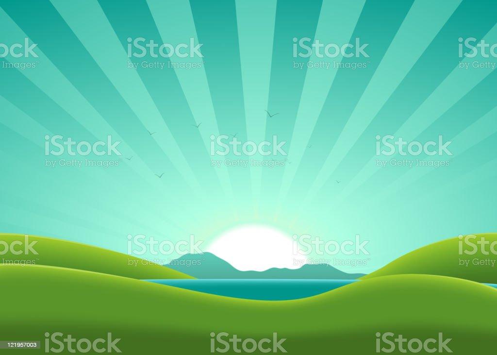 Cartoon Summer Lake Landscape royalty-free stock vector art