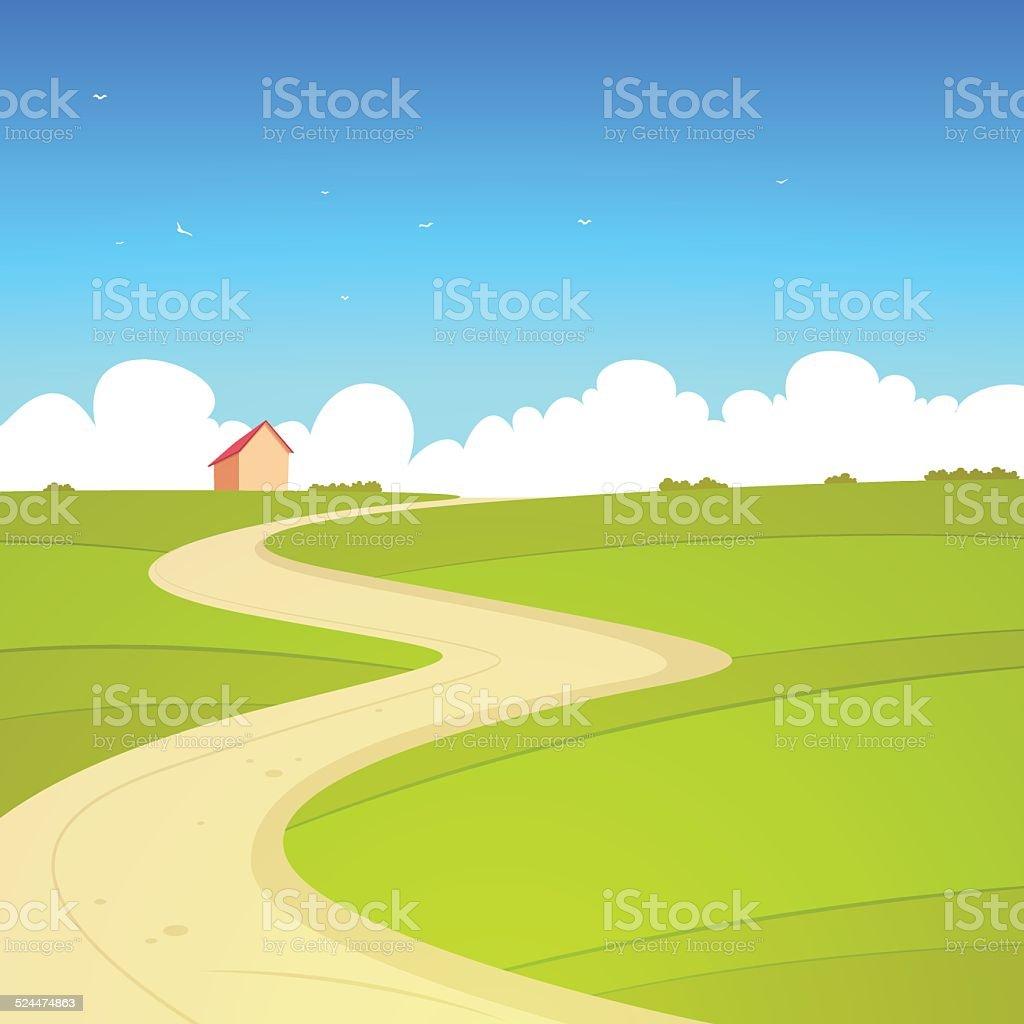 Cartoon Summer Landscape vector art illustration