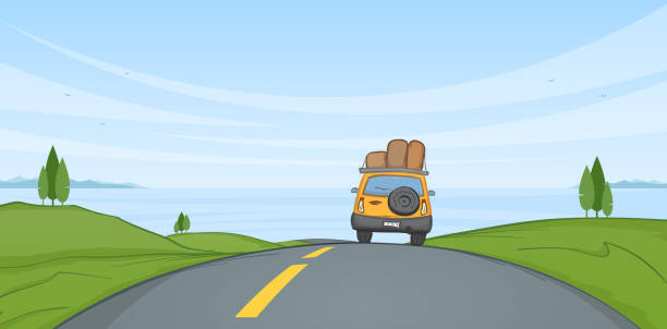 cartoon summer landscape with travel car rides on the road and sea on horizon. - road trip stock illustrations