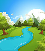 Vector illustration of a cartoon summer or spring high mountain landscape, with river, pine trees and firs for vacations, travel and seasonal holidays background. Vector eps and high resolution jpeg files included.