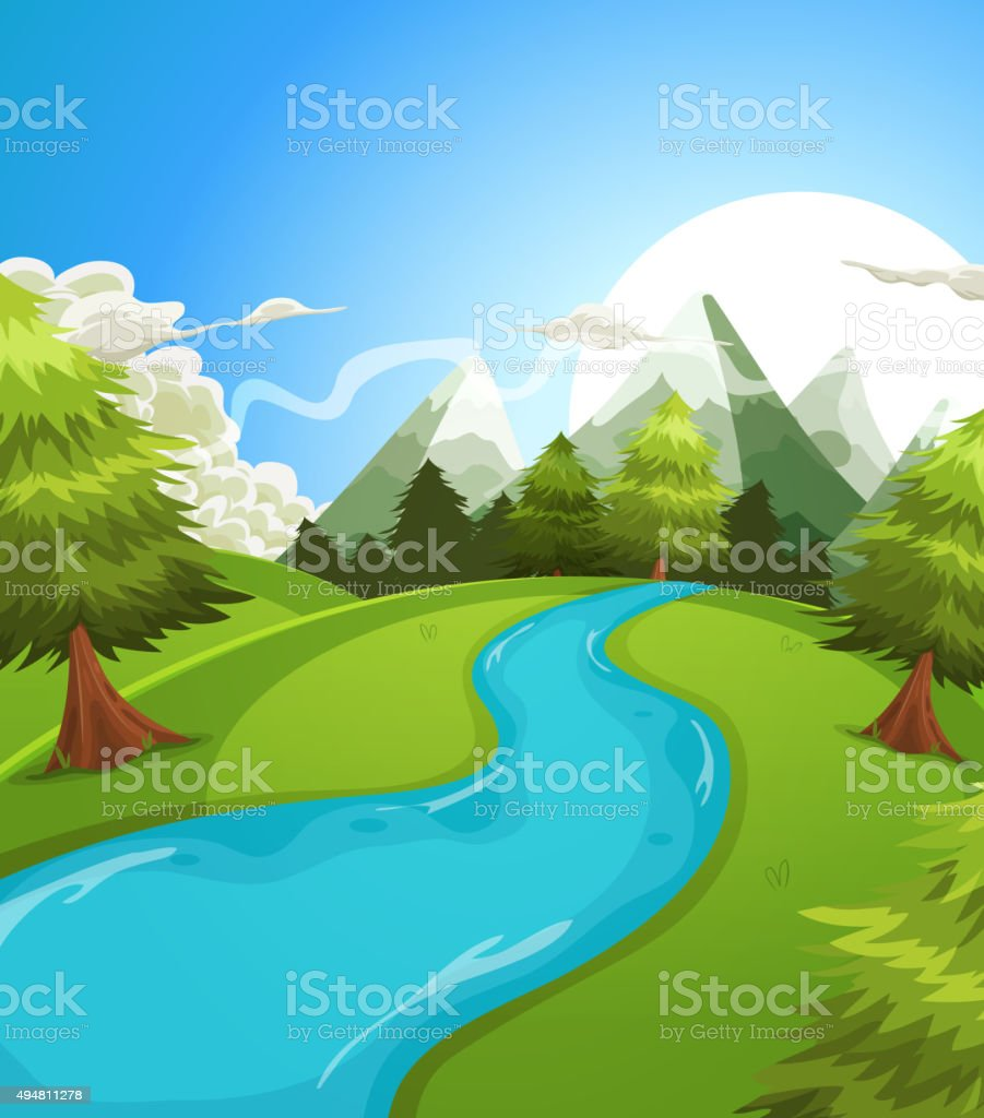 Cartoon Summer Mountains Landscape vector art illustration