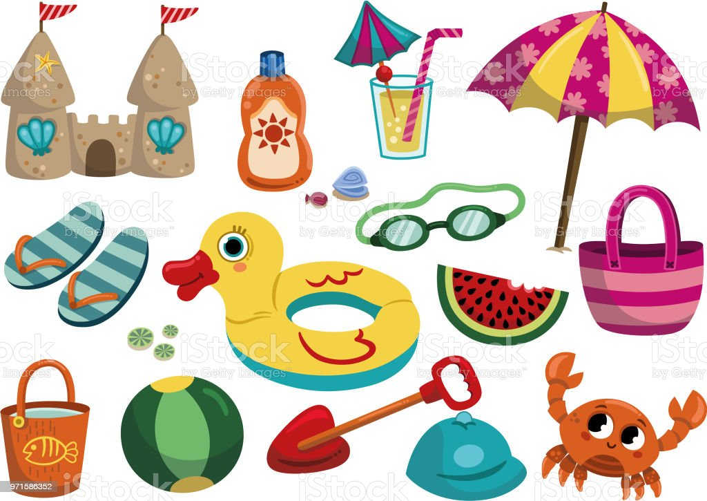 Cartoon Summer objects isolated on white background. vector art illustration