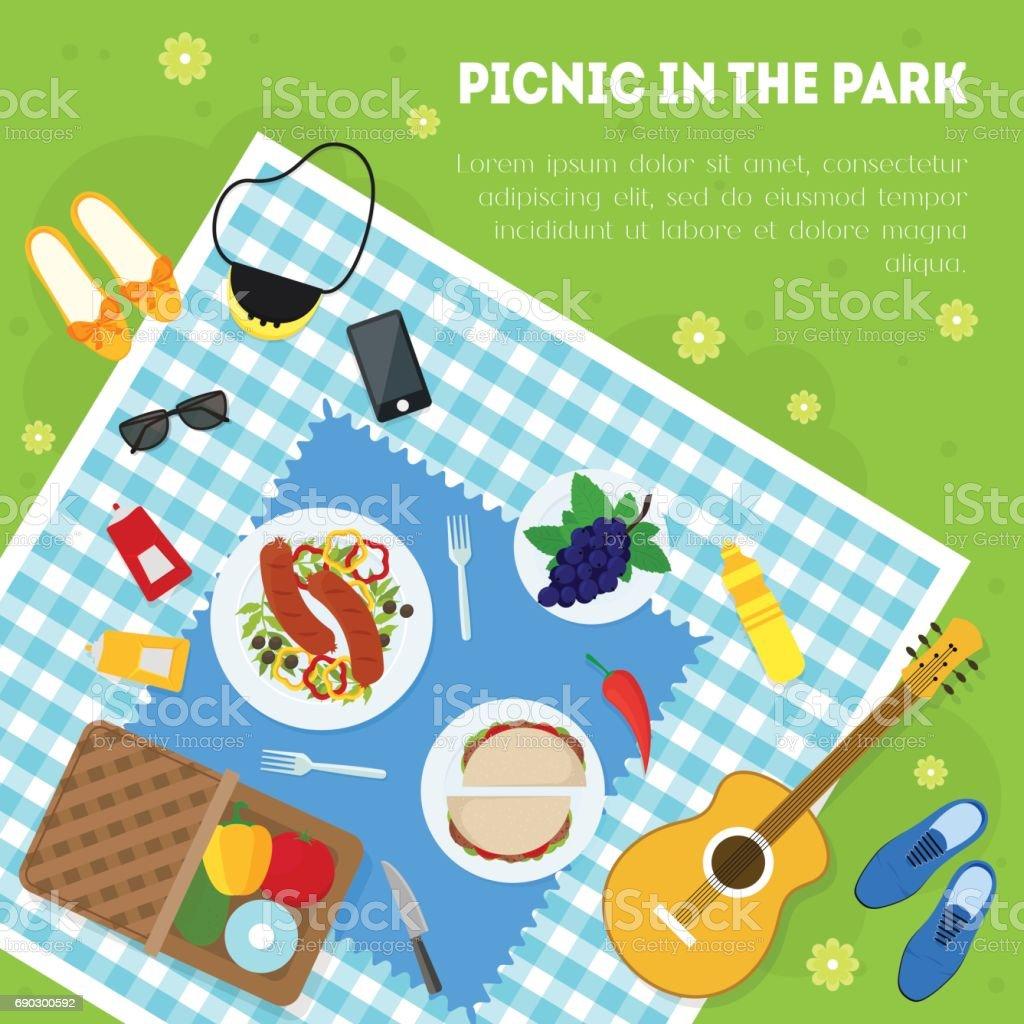 Piquenique de Verão dos desenhos animados no parque cesta cartão fundo. Vector - ilustração de arte em vetor