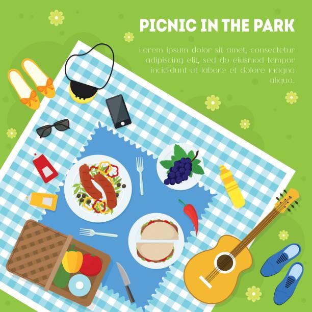 Cartoon-Sommer-Picknick im Park Korb Karte Hintergrund. Vektor – Vektorgrafik