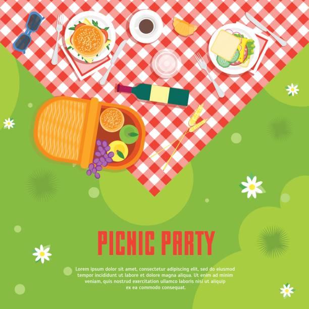 ilustraciones, imágenes clip art, dibujos animados e iconos de stock de picnic de verano en parque canasta tarjeta fondo de dibujos animados. vector de - picnic