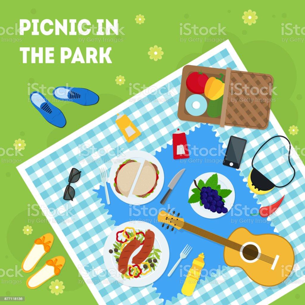 漫画夏のピクニック公園バスケット カード ポスター。ベクトル ベクターアートイラスト
