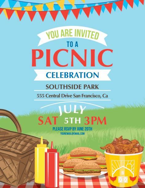 ilustraciones, imágenes clip art, dibujos animados e iconos de stock de plantilla de la invitación de historieta summer picnic  - picnic