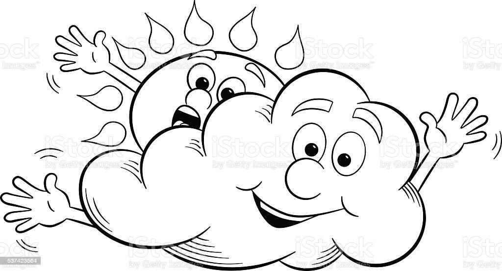 Ilustración De Dibujos Animados De Sol Y El Cielo Nublado