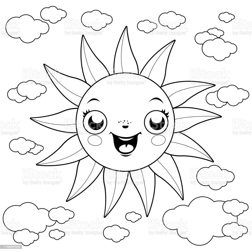 Ilustración De Sol Y Nubes De Dibujos Animados Página Para