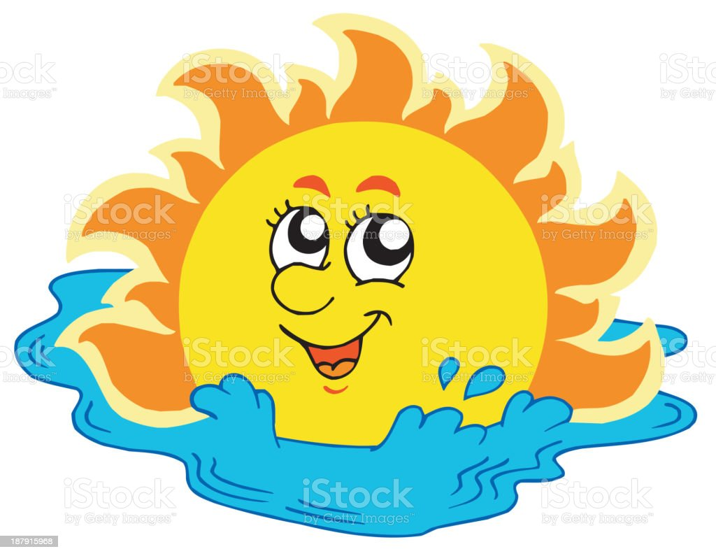 Cartoon Sun bathing in sea royalty-free stock vector art