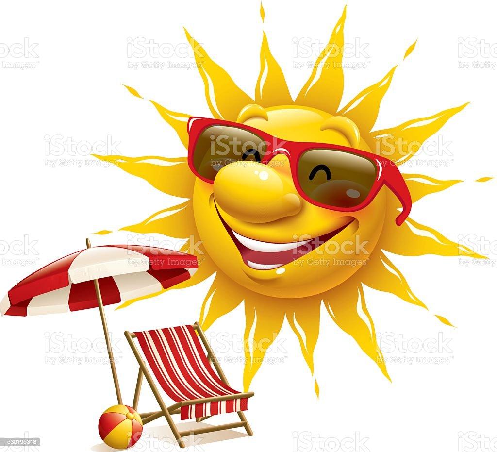 Cartoon Sun - deckchair with parasol vector art illustration