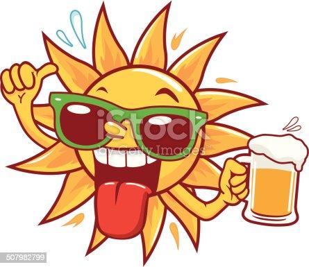 istock Cartoon sun drinking beer 507982799