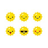 Cartoon sun emoticons