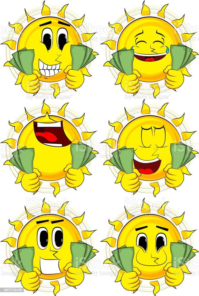 Vetor De Exploração De Sol De Desenhos Animados Ou Mostrando Notas