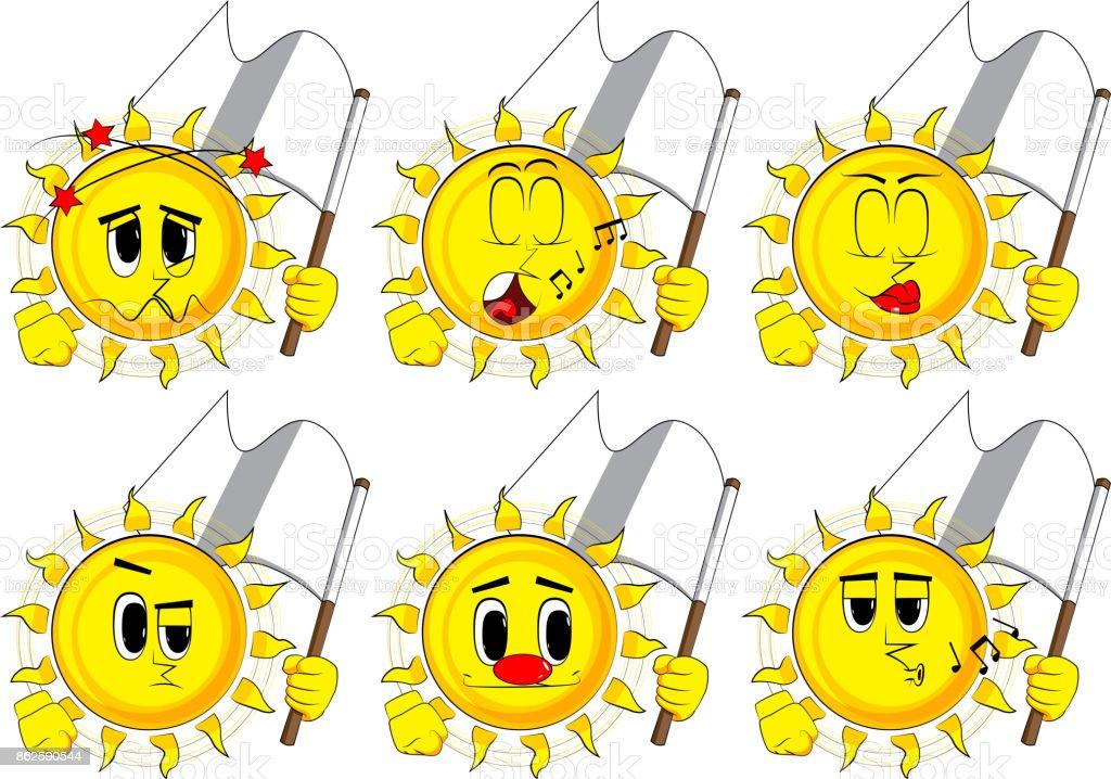 Cartoon sun holds white flag of surrender.