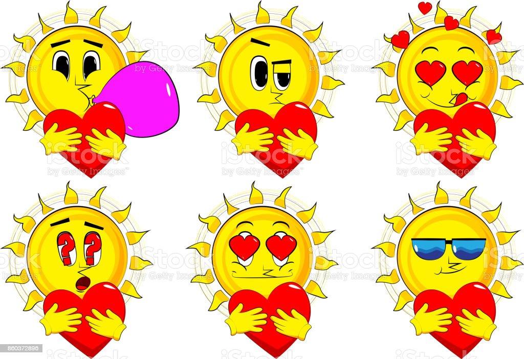 Ilustración de Dibujos Animados De Sol Abrazando Un Gran Corazón ...