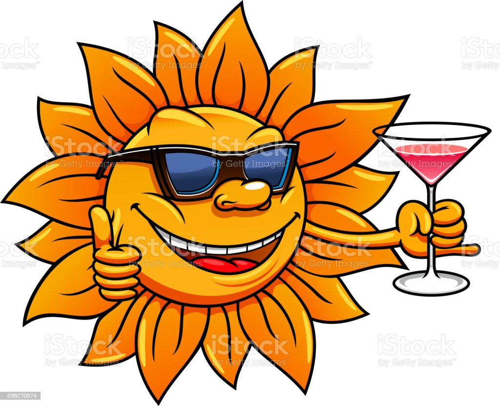cartoon sun in sunglasses drinking cocktail stock vector art more rh istockphoto com Love Smiley Face Clip Art Mischievous Smiley Face Clip Art