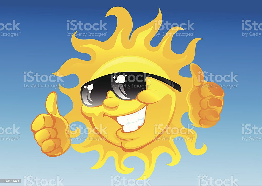 cartoon sun in sunglasses royalty-free stock vector art