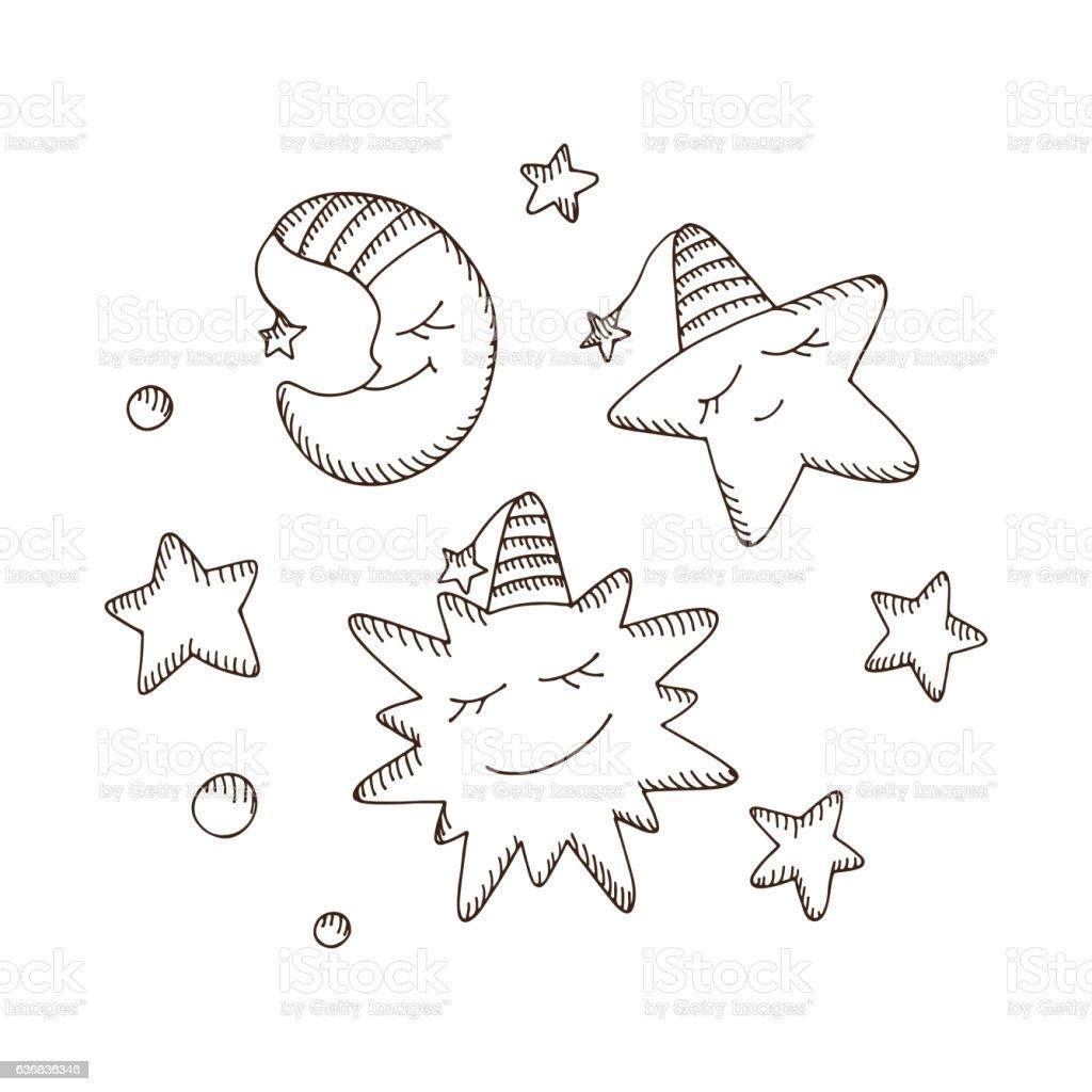 Cartoon Sun, Moon (Crescent) and Star hand drawn doodle set - Illustration vectorielle
