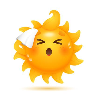 Cartoon sun moping its forehead illustration