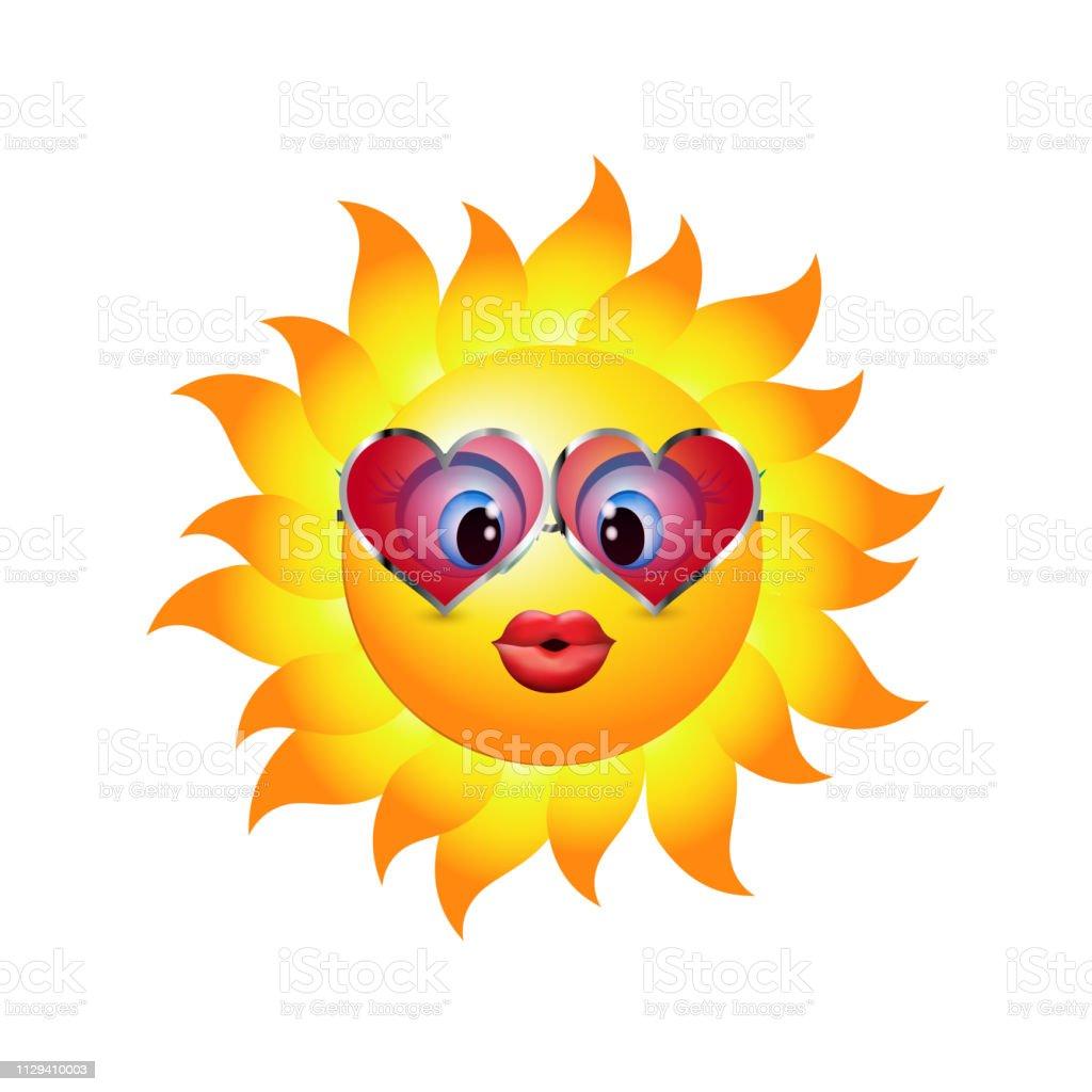 Cartoon-Sonne einen Kuss senden. Emoticon mit herzförmigen Trend-Sonnenbrille. Vektor-3d illustration - Lizenzfrei Bizarr Vektorgrafik