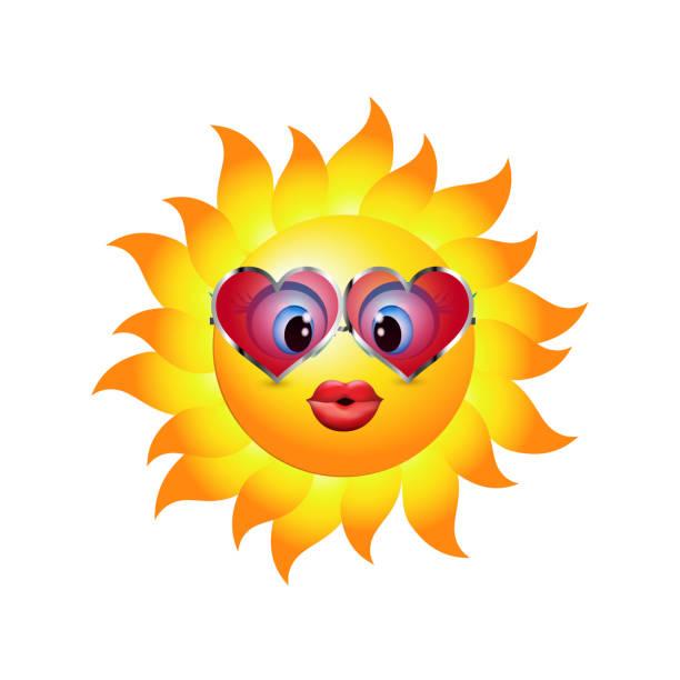 cartoon-sonne einen kuss senden. emoticon mit herzförmigen trend-sonnenbrille. vektor-3d illustration - extravagant schutzbrille stock-grafiken, -clipart, -cartoons und -symbole