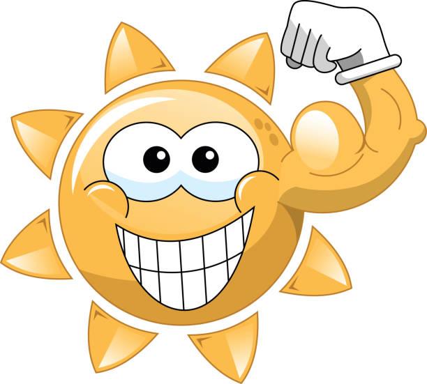 cartoon sun showing biceps - cartoon muscle arms stock illustrations, clip art, cartoons, & icons