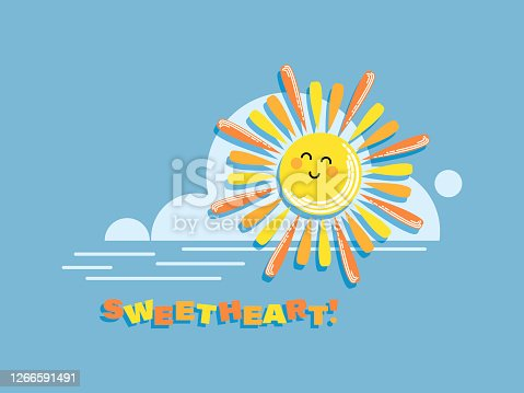 istock Cartoon sun. SWEETHEART. Baby poster, emblem. Sun and cloud on blue sky background. 1266591491