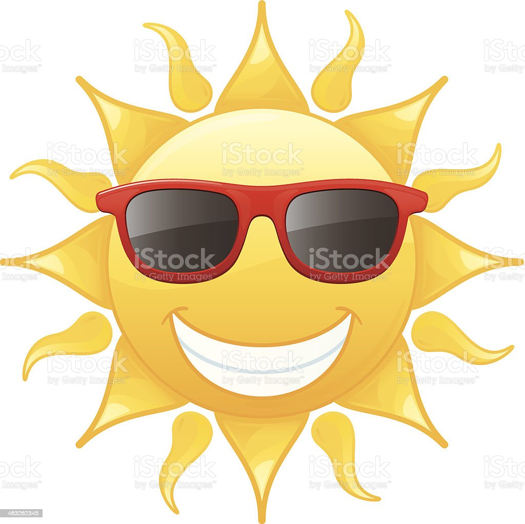 Smiling sun with sunglasses - Cartoon Sun Wearing Sunglasses And Smiling Royalty Free Stock Vector Art
