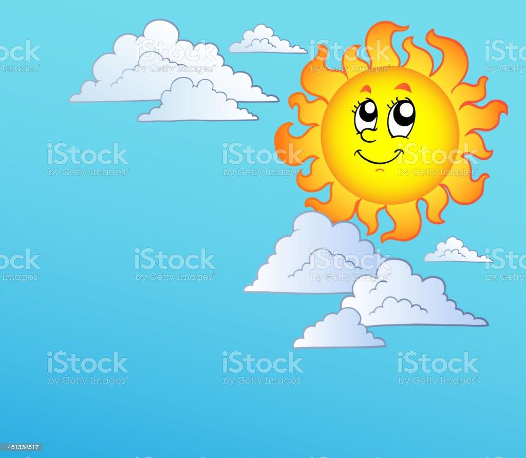 Ilustración De Dibujos Animados De Sol Con Nubes En El Cielo Azul Y