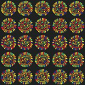 Cartoon sunflower seamless pattern. colorful doodle art. Vector illustration for design,textile,fabric.