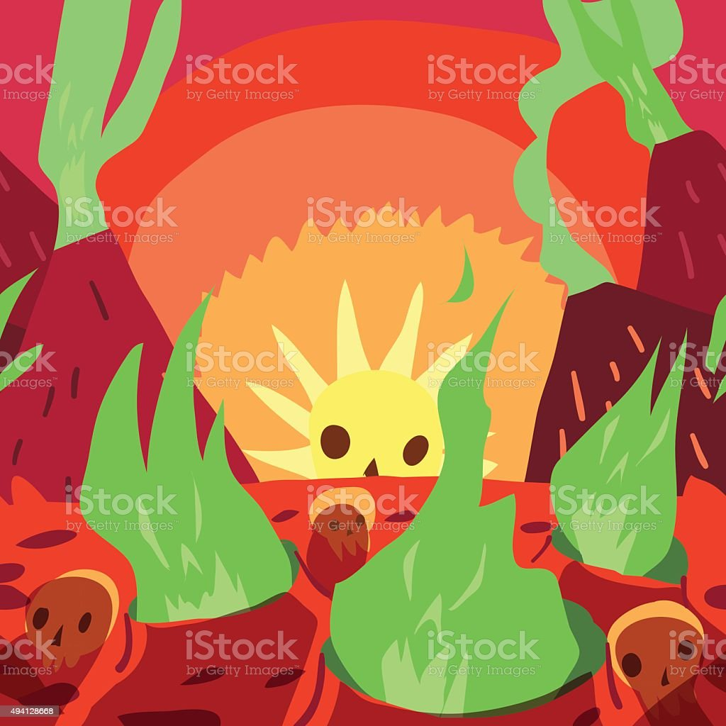 Cartoon sunrise in hell flat greeting card. vector art illustration