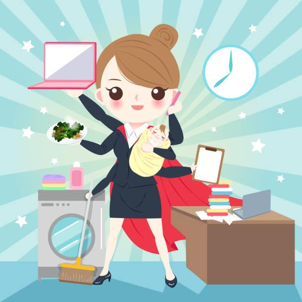 cartoon super business woman vector art illustration