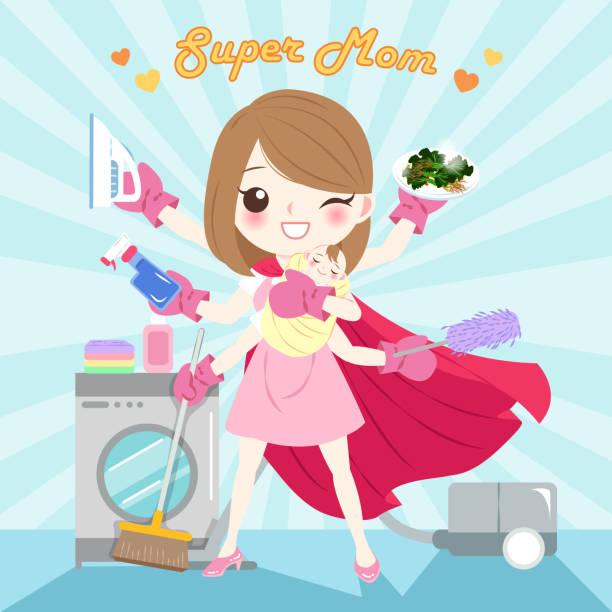 ilustrações de stock, clip art, desenhos animados e ícones de cartoon super mom - super baby