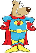 Cartoon illustration of a bear in a superhero costume.