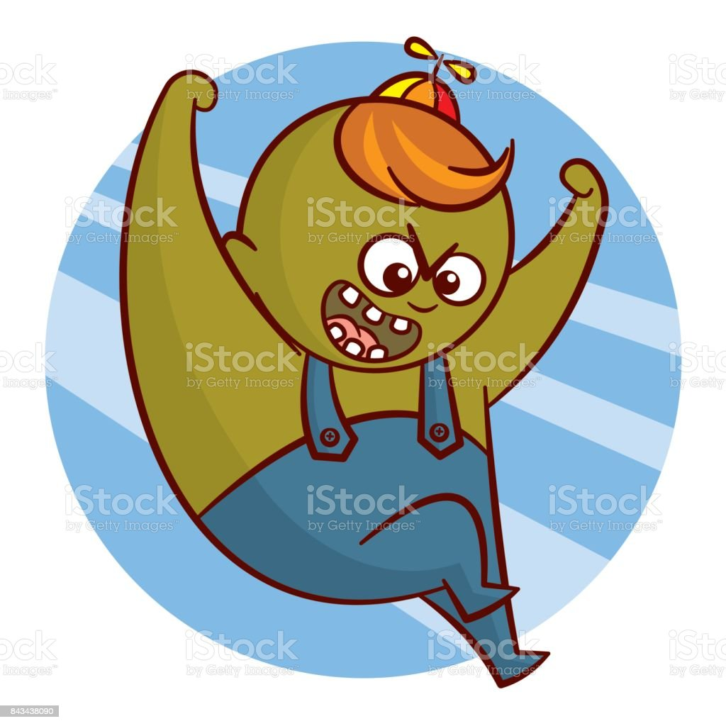 Cartoon Superheld Junge Zeichen Aufkleber Vektor Illustration ...