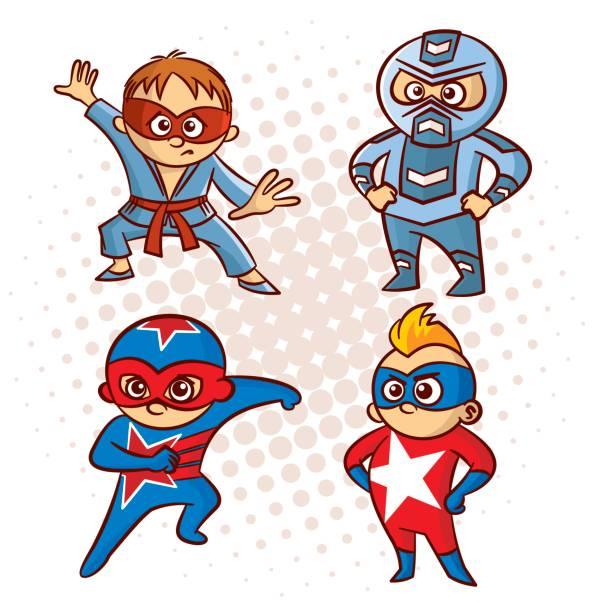 ilustrações de stock, clip art, desenhos animados e ícones de cartoon superhero character sticker - baby super hero