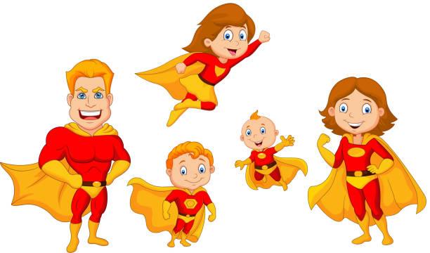 ilustrações de stock, clip art, desenhos animados e ícones de cartoon superhero collection set - baby super hero