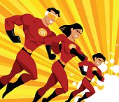 A superhero family fighting for justice. The file was created using flat shapes, no gradients.