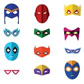 Cartoon Superhero Mask Color Icons Set. Vector