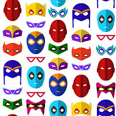 Cartoon Superhero Mask Seamless Pattern Background. Vector