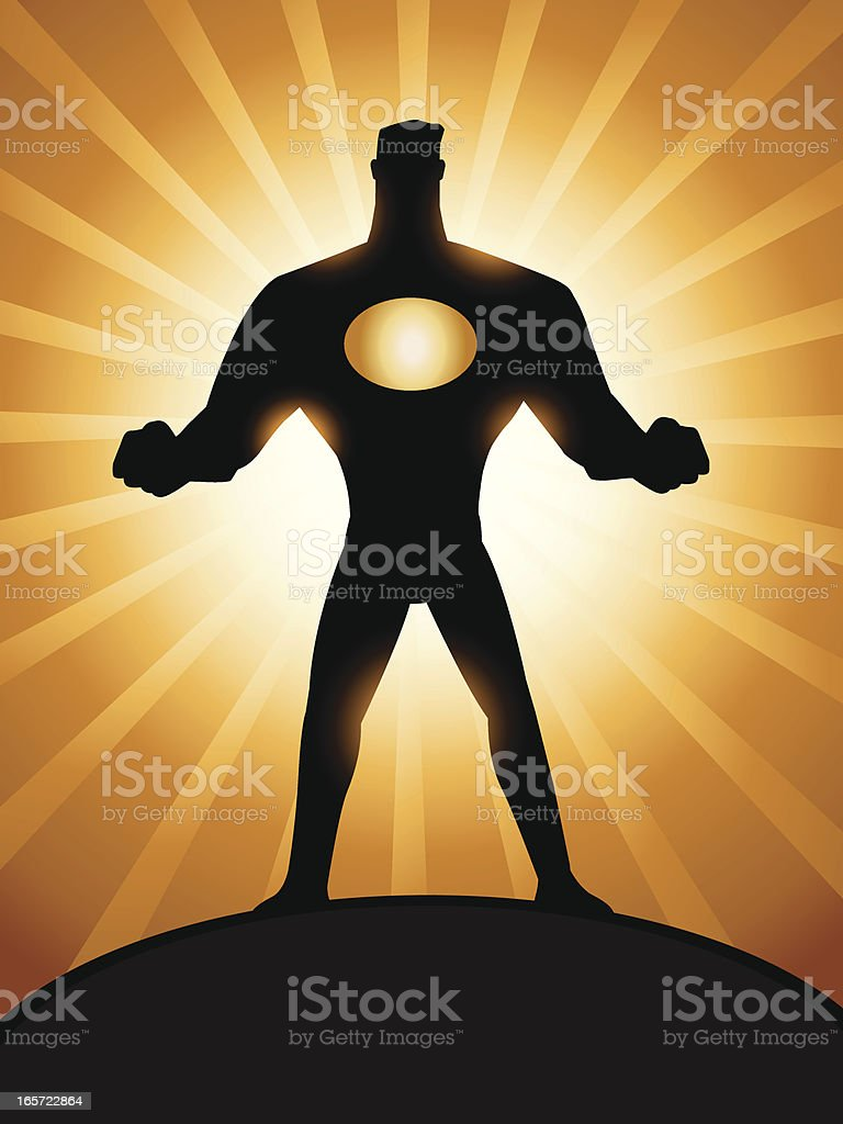 Cartoon superhero silhoutte royalty-free stock vector art