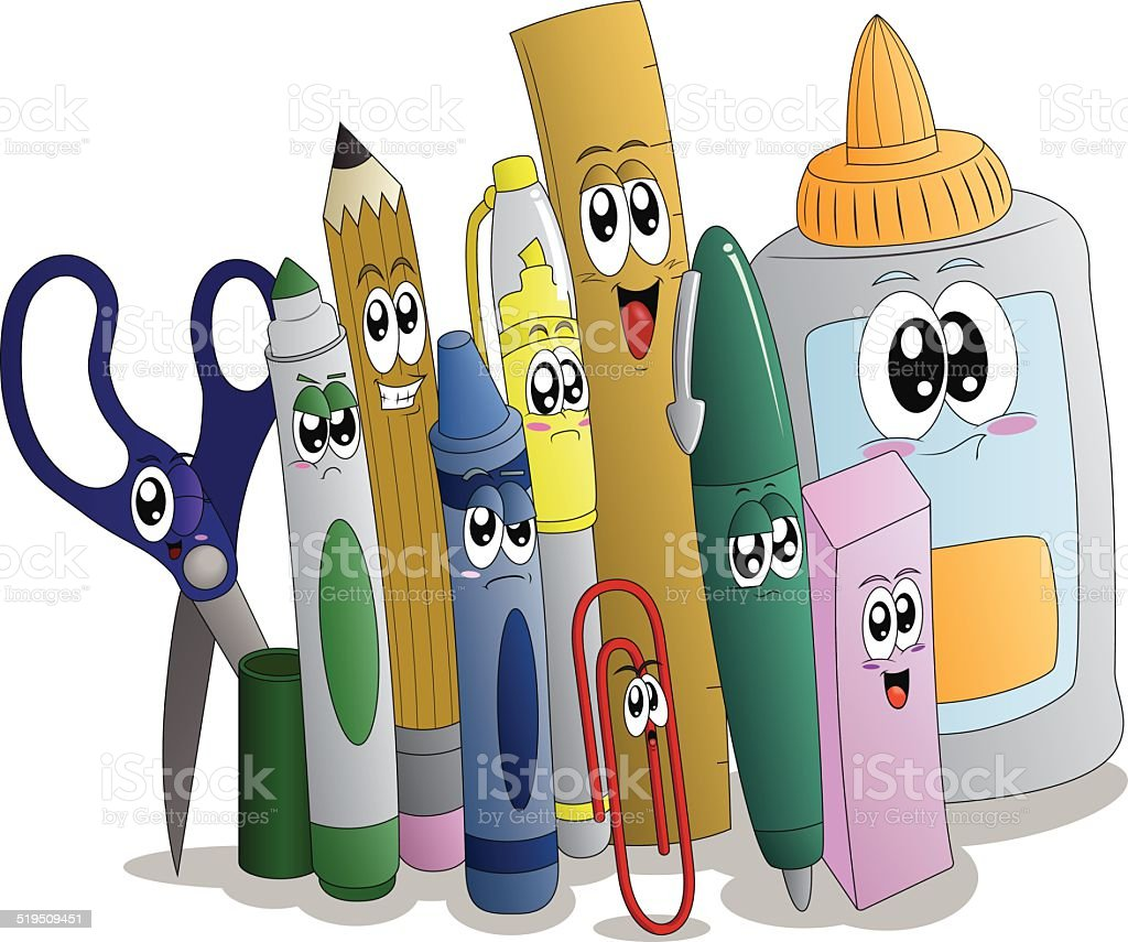 Cartoon Supplies Are Ready for Back to School vector art illustration
