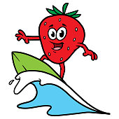 Cartoon Surfing Strawberry Character