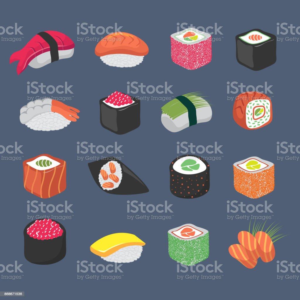 Cartoon sushi rollos cocina japonesa mariscos vector set - ilustración de arte vectorial