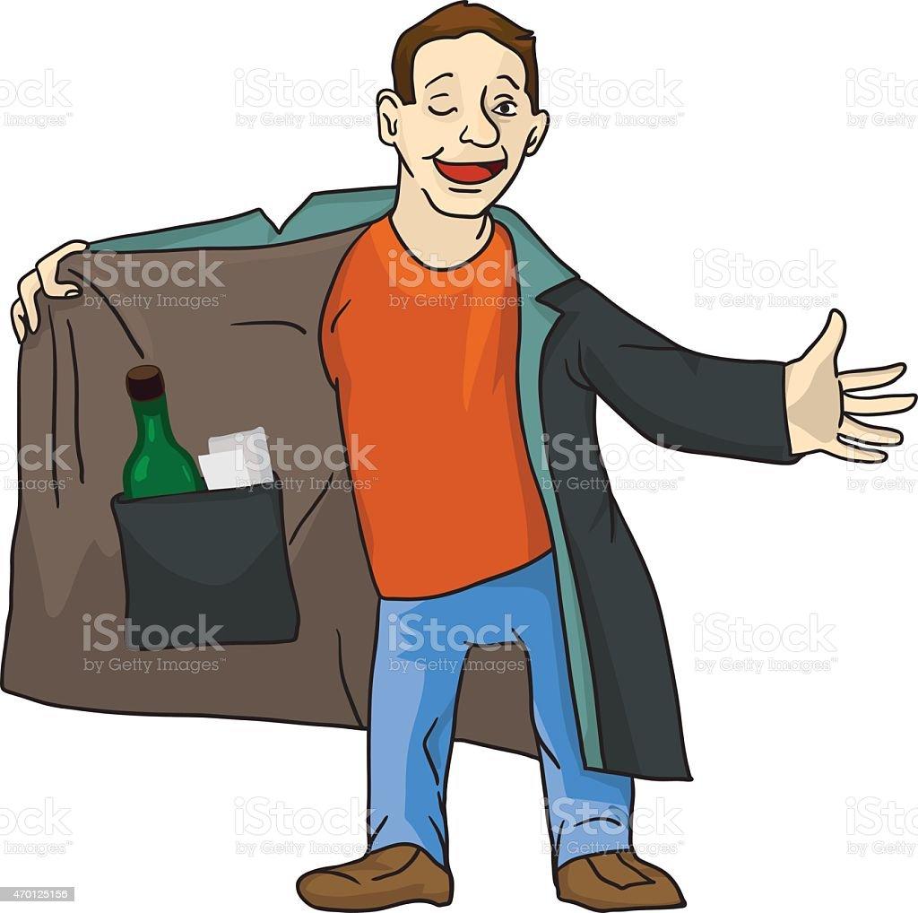 Cartoon suspicious man is selling the forbidden stuff. vector art illustration