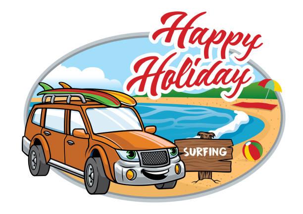 bildbanksillustrationer, clip art samt tecknat material och ikoner med cartoon suv ta semester på stranden - surf garage