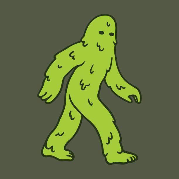 Cartoon swamp monster Green slimy cartoon swamp monster. Vector illustration. moss stock illustrations