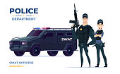 Cartoon swat officers man and woman team in armor. Safety officers with swat car. Guardians of law and order